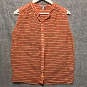 Orange and white J. Crew sheer button up blouse 4
